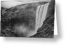 Skogafoss Iceland Black And White Greeting Card by Nathan Bush
