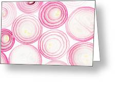 Sliced Pink Onion. Slices. Pattern Greeting Card