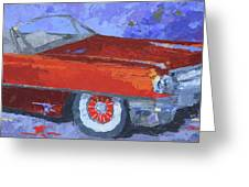 Slick Red Cadillac Greeting Card by David King