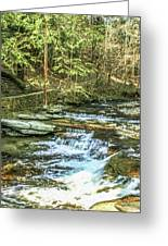 Small Waterfall In Creek And Stone Stairs Greeting Card
