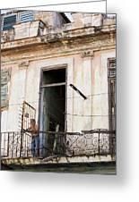 Smoker On Balcony In Cuba Greeting Card