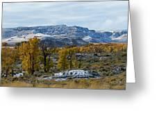 Snow Falls On Autumn Greeting Card