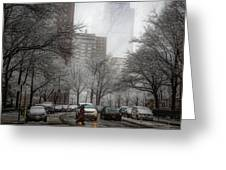 Snow In The City Greeting Card by Alison Frank