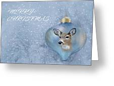 Snowy Deer Ornament Christmas Image Greeting Card
