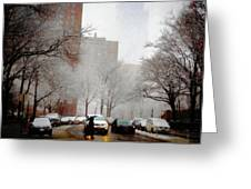 Snowy Street Scene Greeting Card by Alison Frank