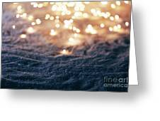 Snowy Winter Background With Fairy Lights. Greeting Card