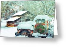 Softly Snowing On The Country Farm Greeting Card