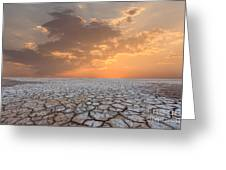 Soil Drought Cracked Landscape Sunset Greeting Card