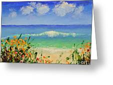 Spring Flowers And Sea And Clouds Greeting Card