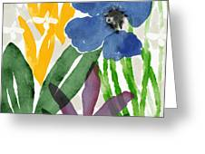 Spring Garden Blue- Floral Art By Linda Woods Greeting Card
