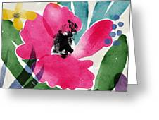 Spring Garden Pink- Floral Art By Linda Woods Greeting Card
