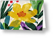 Spring Garden Yellow- Floral Art By Linda Woods Greeting Card