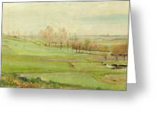 Spring Landscape With Light Green Fields Greeting Card