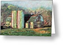 Spring On The Farm - Old Barn With Two Silos Greeting Card