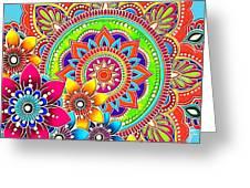 Springtime Mandala Greeting Card by Becky Herrera