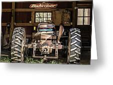 Square Format Old Tractor In The Barn Vermont Greeting Card
