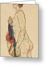 Standing Nude With A Patterned Robe, 1917  Greeting Card