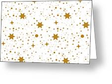 Star, Pattern, White, Background, Gold Greeting Card