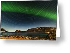 Startrail Over Northern Lights Greeting Card