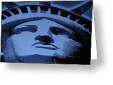 Statue Of Liberty In Cyan Greeting Card