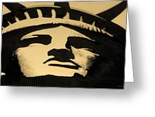 Statue Of Liberty In Dark Sepia Greeting Card
