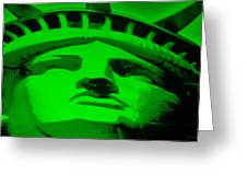 Statue Of Liberty In Green Greeting Card