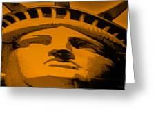 Statue Of Liberty In Orange Greeting Card