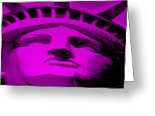 Statue Of Liberty In Purple Greeting Card