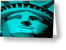 Statue Of Liberty In Turquois Greeting Card