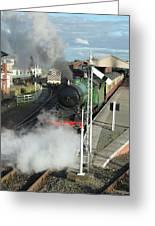 Steam Train Leaving Station Greeting Card