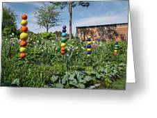 Sticks With Colorful Balls In A Garden Greeting Card