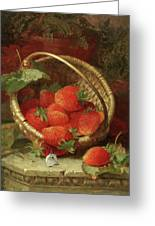 Still Life Of Strawberries With A Cabbage White Butterfly Greeting Card