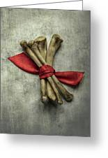 Still Life With Bones And Red Ribbon Greeting Card
