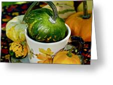 Still Live With Autumn Coffee Cup And Gourds Greeting Card