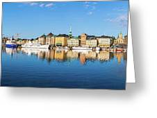 Stockholm Old City Fantastic Golden Hour Sunrise Reflection In The Baltic Sea Greeting Card