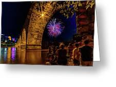 Stone Arch Bridge, July 4 Greeting Card
