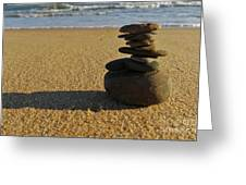 Stone Balance On The Beach Greeting Card