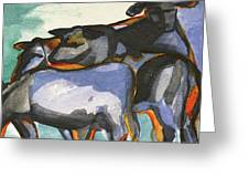 Stone Barn Cows Greeting Card