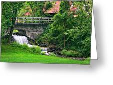 Stone Bridge And Waterfall Landscape Greeting Card