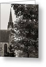 Stone Chapel - Black And White Greeting Card