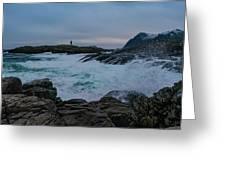 Storm At The Norwegian Coastline Greeting Card