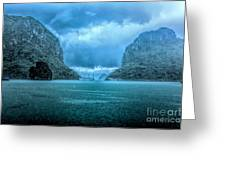 Storm Clouds Invade Ha Long Bay Blue Rain  Greeting Card