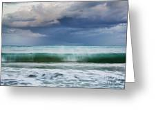 Stormy Ocean Wave - Kailua, Oahu Greeting Card by Charmian Vistaunet