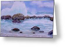 Stormy Shore On Nisyros Greece Greeting Card