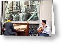 Street Musicians - Paris Greeting Card by Brian Jannsen