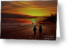 Strolling The Beach At Olon Greeting Card