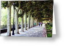 Strolling The Burgos Boulevard Greeting Card by Rick Locke