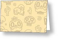 Sugar Skulls Sand Seamless Vector Greeting Card