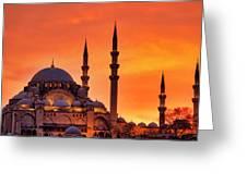 Suleymaniye Mosque At Sunset Greeting Card