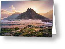 Sun Rising Behind Roque De Los Hermanos Greeting Card by Dmytro Korol